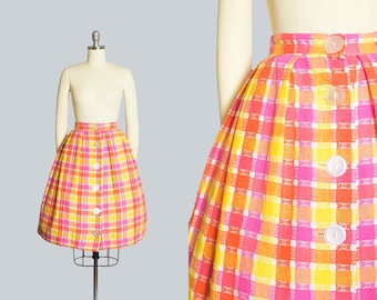 Vintage 1960s Skirt | 1960s Woven Cotton Plaid Big Button Down Pink Orange Yellow Pleated Full Skirt (small)