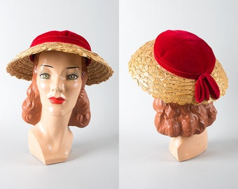 Vintage 1950s Hat | 50s Straw Sun Hat Red Velvet Wide Brim Picture Hat