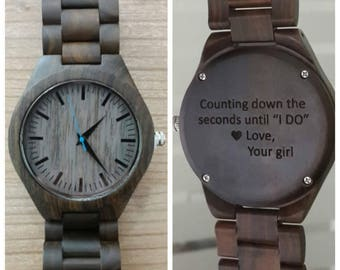 engraved wooden watch, valentines day gift, personalized watch, mens watch, fathers day, ebony wooden watch, anniversary, christmas gift