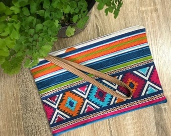 Small Pink Aztec Clutch