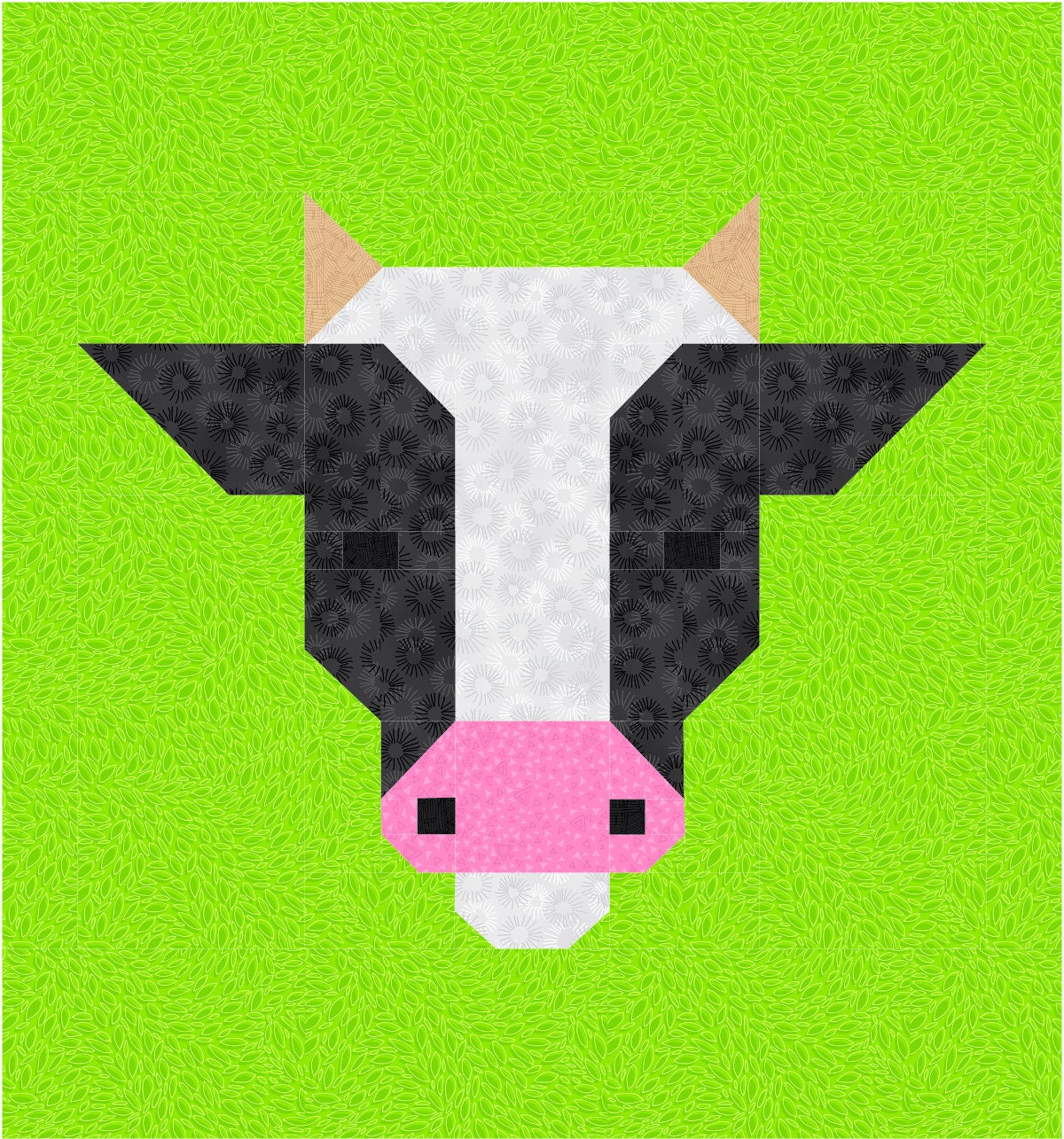 Cow Quilt BLOCK Pattern, PDF, Instant Download, modern patchwork ... : cow quilt block - Adamdwight.com