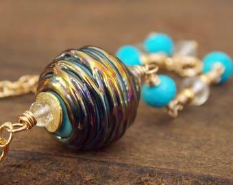 Turquoise Metallic Bracelet. Luxe Lampwork Jewelry. Romantic Jewelry. Boho Luxe Gemstone Bracelet