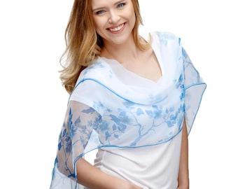 Wedding Silk scarf- White Silk Scarf- Blue Scarf- Bridesmaid Scarf- Hand painted silk scarf- Small Flowers Scarf- Women Scarf- Summer Scarf