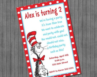 FLASH SALE Dr. Seuss Cat in the Hat Invitations