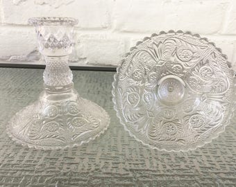 Duncan and Miller Sandwich Pattern Single Candle Holders
