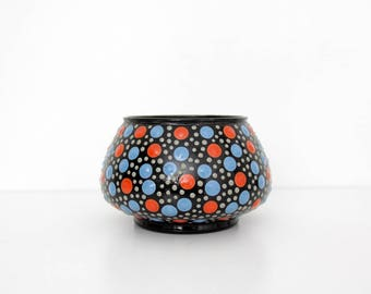 Vintage Planter // Enameled Dotted Vase, Planter // Black, Red and Blue Dots Enamel Pot, Bowl