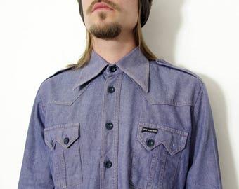 Vintage Shirt // 70's Men's Blue Jean Shirt // Pik Maribor made in Yugoslavia