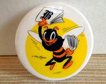 Large Vintage Walt Disney Fresno Bee Newspaper Button Pinback, Fresno, California