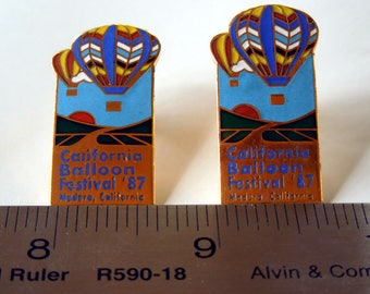 1987 Vintage California Balloon Festival, Madera, California, Vintage Vest, Lapel, Hat Pin