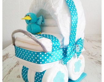 Pram stroller out of diapers turquoise duck