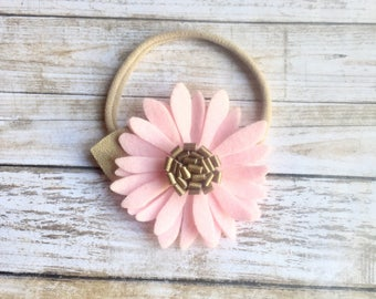 pink and gold headband.felt flower headband.pink flower headband.gold headband.flower headband.pink felt flower headband.felt baby headband.
