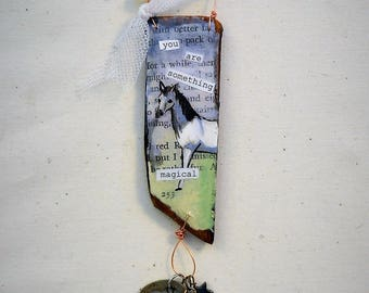 you are something magical mini mixed media collage on wood