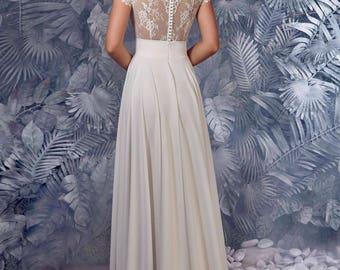 Bridal Dress - Prue  Wedding Stunning Lace Dress - Long Wedding Dress - Elegant Wedding Dress - Simple Wedding Dress - Abito da Sposa