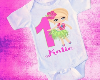 Birthday Hawaiian Hoola Girl; Onezee Dress Or Shirt And Personalized For Free; Name And Number Color Can Change Fast Shipping;6 Months & Up