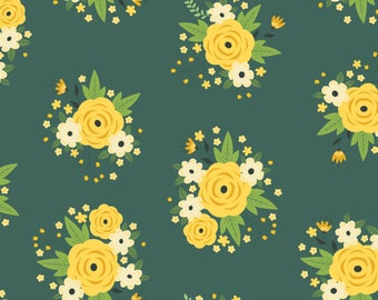 Floral in Pine Green, Camelot Fabrics, Alisse Courter, fabric by the yard, yellow flowers, medallion fabric, summer fabric, buds, roses