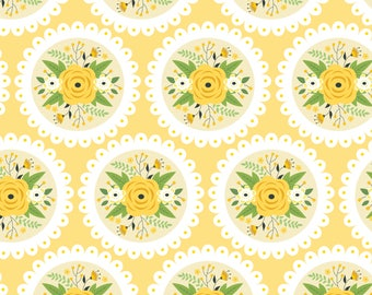 Doily on Light Yellow, Camelot Fabrics, Alisse Courter, fabric by the yard, yellow flowers, medallion fabric, summer fabric, buds, roses