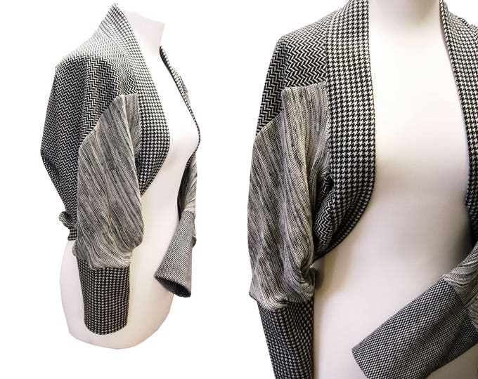 Monochrom Shrug houndstooth herringbone wool blend structures