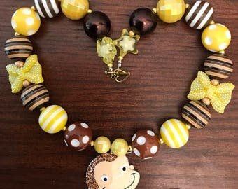 Curious George Chunky Bubble Gum Necklace (Child)