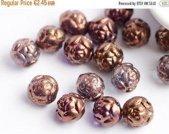 ON SALE -15% 8mm Bronze Czech Glass Round Rosebud Flower Bead floral Purple with Metallic Gold Bronze beads - 20pcs