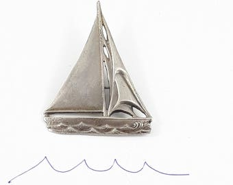 Vintage Sterling Silver Sailboat Brooch signed Guglielmo Cini Sailing Enthusiasts