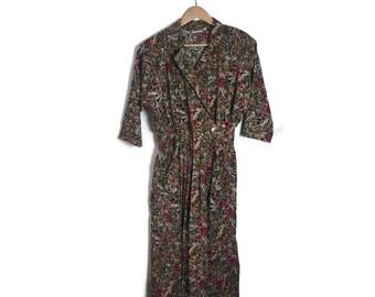 boho vintage dress / arty cotton dress / mid length cool dress / autumn colours / 40s style dress / button up / bohemian fashion