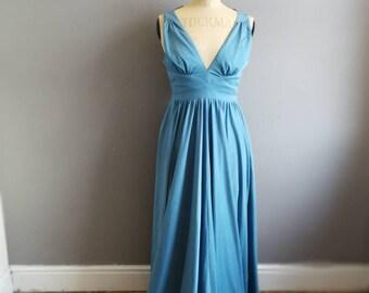 studio 54 maxi dress / teal grey long gown / studio 54 / long fitted evening dress / Grecian long dress UK 6- 8