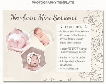 Baby Mini Session, Newborn Mini Session Template for Photographer, Photography Marketing Board, Baby First Year Photo Template, c169