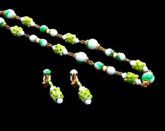 Alice Caviness Green Bead Necklace and Dangle Earrings Set Signed