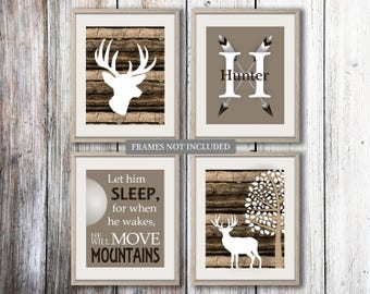 Baby Boy Nursery Art Rustic Nursery Art Deer Nursery Bedding Decor Woodland Nursery Let Him Sleep Camouflage Deer Print Choose Colors WD4425