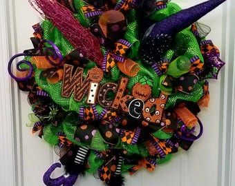 Halloween Witch Wreath with witch hat witch legs glittery broom and a super cute Wicked sign item#HLWN4
