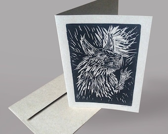 """Hand-printed Card - Original Linocut Printed Note Card - """"Inside Out"""""""