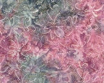 RJR Jinny Beyer Malam Batik Blue Purple Pink Swirl Floral Leaf Leaves Batik 2147-003 Fabric BTY