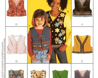 LINED VESTS in 2 LENGTHS McCall's Express Yourself Pattern 2980 Girls' Sizes 10 12 14