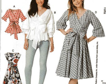 McCall's Laura Ashley Pattern 7627 WRAP TOPS & DRESSES w/Waist Ties Misses Sizes 6 8 10 12 14