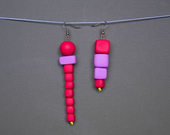 Assymetric earrings Mismatched earrings Polymer clay earrings Beadwork earrings Purple Geometric earrings Cube earrings Cherry red earrings