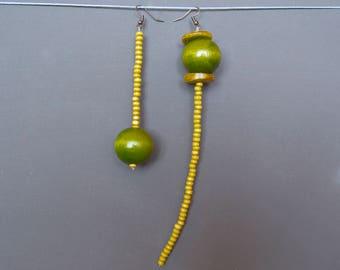 Assymetric earrings Mismatched earrings Long earrings Beaded earrings Wooden earrings Yellow earrings Green earrings Rustic earrings