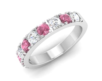 Pink Tourmaline Wedding Ring, 14K White Gold, Gold Eternity Ring, Tourmaline With Diamond Wedding Ring, Engagement Ring, Anniversary Ring