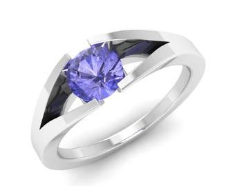 Tanzanite Ring, 14K White Gold, Solitaire Engagement Ring, Anniversary Ring, Wedding Ring, Tanzanite Engagement Ring, December Birthstone