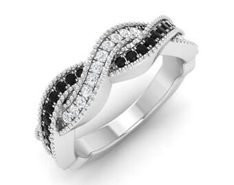 Black Diamond Engagement Ring, 14K White Gold, Diamond Eternity Ring, Anniversary Ring, Wedding Ring, Promise Black Diamond Wedding Ring