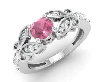 Natural Pink Tourmaline rings   0.4 Cts Tourmaline & SI Diamond Engagement Ring   AAA Tourmaline In 14K White Gold   October Birthstone Ring