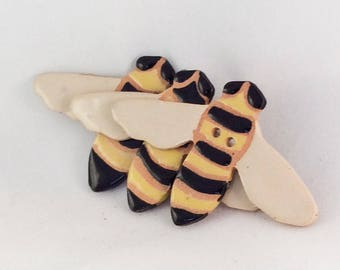 Bumble Bee Button, Ceramic Button - sold individually