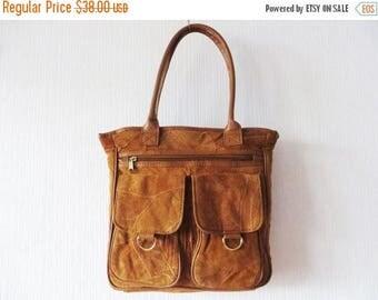 CIJ SALE Vintage 90s Leather Tote Bag Caramel Suede Tote Bag Brown Handbag Brown Genuine Leather Bag Womens Handbag Large Purse Gift for her