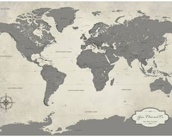 SALE World Map Push Pin Paper Anniversary Gift Idea Push - World map for sale