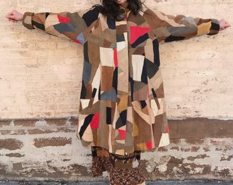 80's Multi-Colored Patchwork Suede Dream Coat by Magic S/M