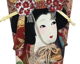 Large Japanese Hagoita Geisha Wooden Paddle