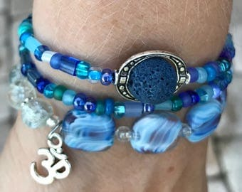 Essential Oil Bracelet Blue Om