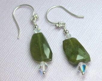 Garnet Earrings, Green Drop Earrings, Garnet Gemstones, Garnet Dangles, Sterling Silver, Swarovski Crystals, January Birthstone