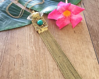 Crystal & Turquoise Gold Fill Fringe Necklace