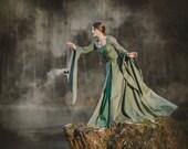Lady of the Lake fantasy medieval dress, elves dress, priestess fairy sorceress medieval dress cosplay LARP