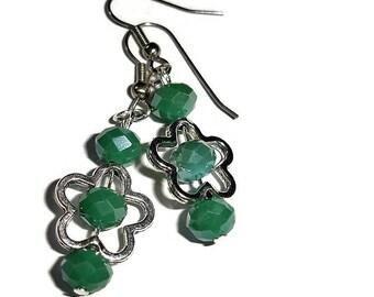 SALE *** Flower Earrings Floral Earrings Teal earrings floral earrings Crystal earrings Czech glass earrings Fancy earrings gift for her